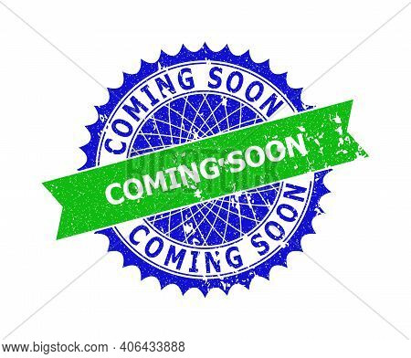 Vector Coming Soon Bicolor Seal With Unclean Style. Blue And Green Colors. Flat Seal Stamp With Comi