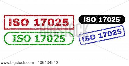 Iso 17025 Grunge Seal Stamps. Flat Vector Grunge Stamps With Iso 17025 Tag Inside Different Rectangl