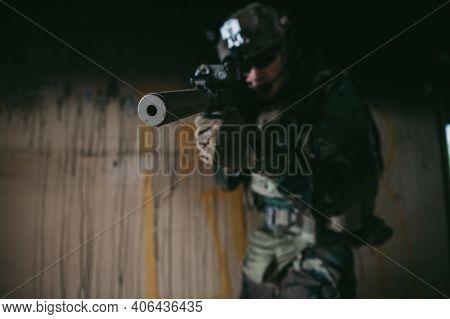 Soldier In Combat. Urban Combat Training, Soldier Entering Abandoned Building. Anti Terrorist Operat