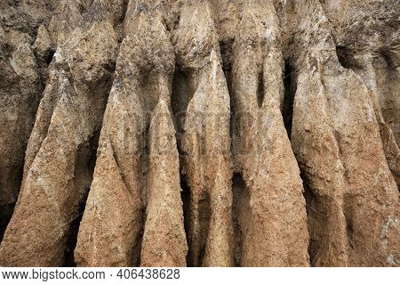 Large Gullies From Clay Soil Erosion. High Quality Photo