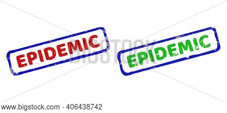 Vector Epidemic Framed Imprints With Unclean Texture. Rough Bicolor Rectangle Stamps. Red, Blue, Gre