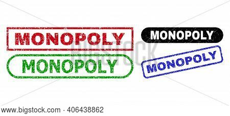 Monopoly Grunge Seal Stamps. Flat Vector Grunge Seal Stamps With Monopoly Title Inside Different Rec