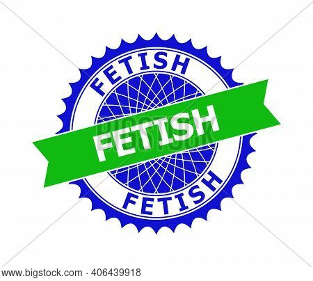 Vector Fetish Bicolor Template For Watermarks With Clean Surface. Flat Clean Stamp With Fetish Text