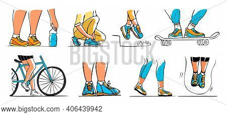 Vector Drawn Illustration With Set, Collection Of Sports And Casual Shoes On Feet In Various Situati