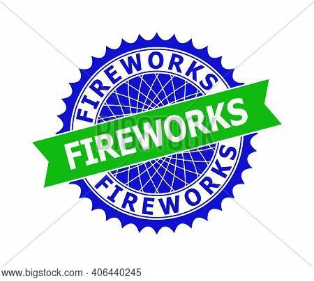 Vector Fireworks Bicolor Template For Watermarks With Clean Surface. Flat Clean Seal Stamp With Fire