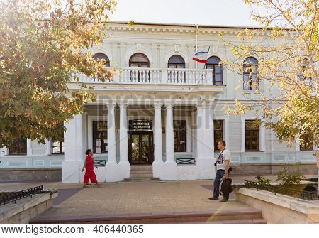 Russia, Crimea, Feodosia September 18, 2020-entrance To One Of The Oldest Museums In Europe-the Muse