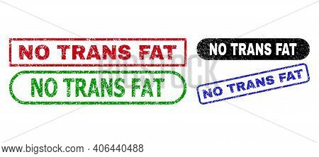 No Trans Fat Grunge Stamps. Flat Vector Grunge Seal Stamps With No Trans Fat Slogan Inside Different