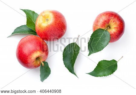 Fresh Red Apples With Green Leaves Isolated On White Background. Gala Apple. View From Above