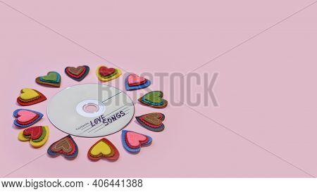 Copyspace Valentine's Day Greeting Card, With Audio Disc With Songs About Love And Hearts Around On