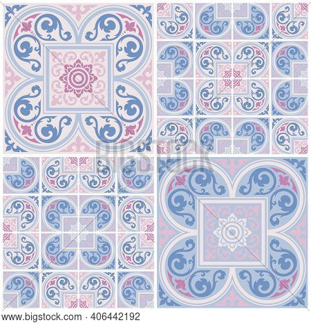 Applied Thai Art Style Abstract Background. Set Seamless Decorative Pattern For Cards, Banner, Broch