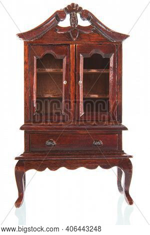 Queen ann style furniture display cabinet isolated over white background