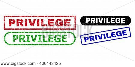 Privilege Grunge Watermarks. Flat Vector Distress Watermarks With Privilege Text Inside Different Re