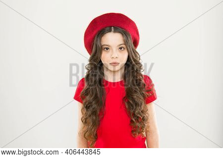 Perfect Curls. Kid Girl Long Healthy Shiny Hair. Kid Cute Face With Adorable Curly Hairstyle Wear Be
