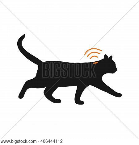 Pets Microchipping Concept. Cat Silhouette With Implant And Rfid Signal Isolated On White Background