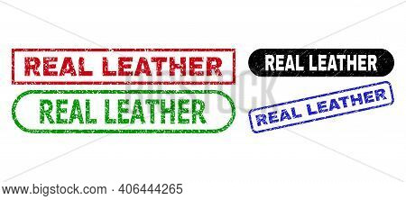 Real Leather Grunge Watermarks. Flat Vector Textured Seals With Real Leather Tag Inside Different Re
