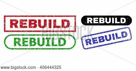 Rebuild Grunge Watermarks. Flat Vector Grunge Watermarks With Rebuild Message Inside Different Recta