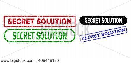 Secret Solution Grunge Watermarks. Flat Vector Grunge Seal Stamps With Secret Solution Phrase Inside