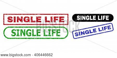 Single Life Grunge Seal Stamps. Flat Vector Grunge Seal Stamps With Single Life Text Inside Differen