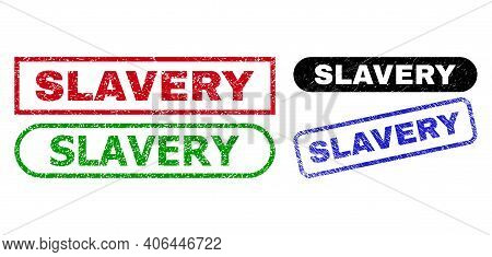 Slavery Grunge Watermarks. Flat Vector Grunge Watermarks With Slavery Tag Inside Different Rectangle