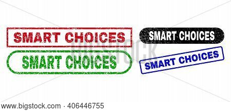 Smart Choices Grunge Seal Stamps. Flat Vector Grunge Stamps With Smart Choices Message Inside Differ