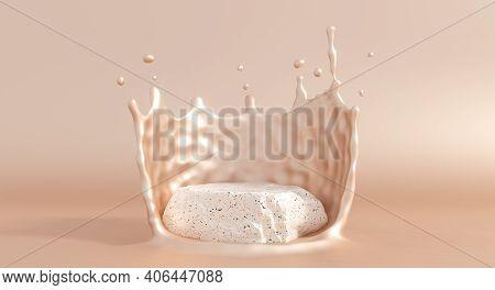 Stone Product Podim With Beige Liquid Cream Splash. Cream Fluid Flow For Cosmetics Showcase. 3d Rend