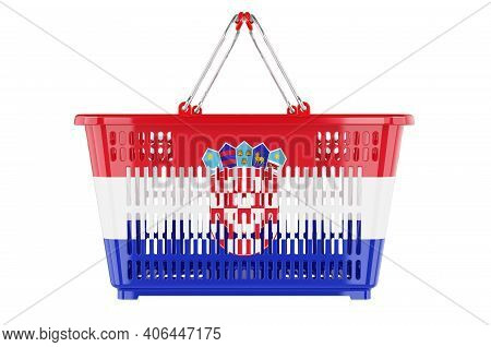 Shopping Basket With Croatian Flag, Market Basket Or Purchasing Power Concept. 3d Rendering Isolated