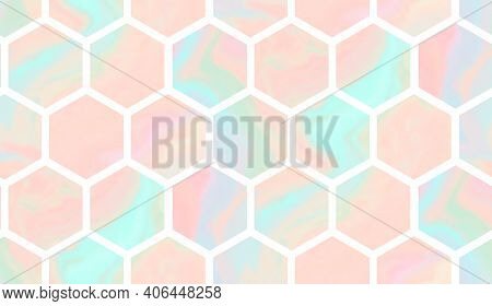 Tender Teal And Coral Geometric Seamless Pattern With Gradient Marble Hexagons. Abstract Pink And Bl