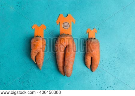 Trendy Ugly Organic Carrot As Trousers With T-shirt Cut From Paper Creative Concept