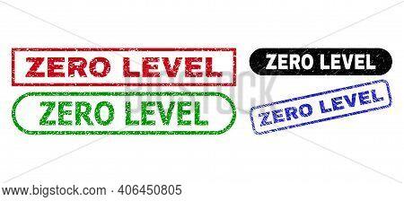 Zero Level Grunge Watermarks. Flat Vector Grunge Watermarks With Zero Level Text Inside Different Re
