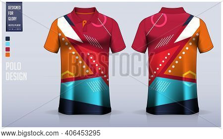 Polo Shirt Mockup Template Design For Soccer Jersey, Football Kit, Sportswear. Sport Uniform In Fron