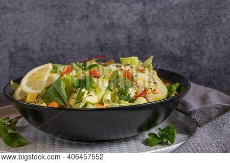 Salad. Spring Vegetable Salad. Fresh Vegetable Salad With Tomatoes, Apple, Nuts, Seeds And Lemon. Ol