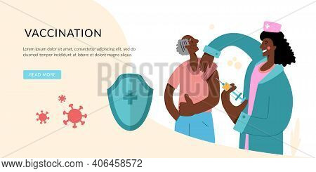 People Vaccination Concept For Immunity Health. Coronavirus Infection Treatment. Landing Page Templa
