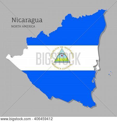 Map Of Nicaragua With National Flag. Highly Detailed Editable Map Of Nicaragua, North America Countr