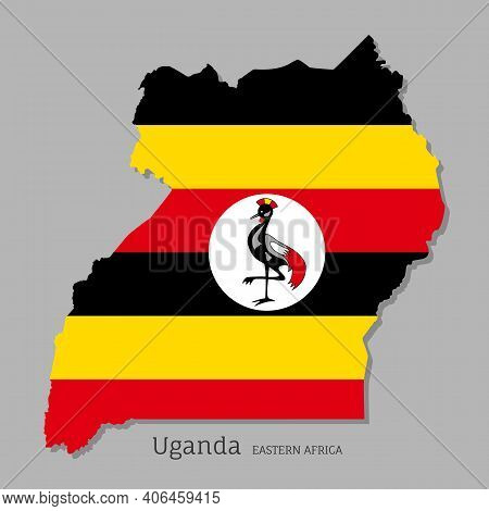 Map Of Uganda With National Flag. Highly Detailed Editable Map Of Eastern Africa Country Territory B