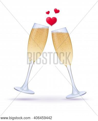 Pair Of Champagne Glasses And Red Heart. Clinking Romance Transparent Wine Glasses. Wedding, Engagem