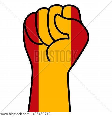 Raised Spanish Fist Flag. Spain Hand. Fist Shape Spain Flag Color. Patriotic Demonstration, Rebel, P