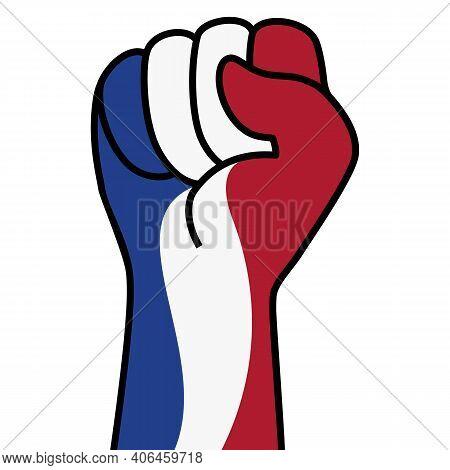 Raised Dutch Fist Flag. Hand Of Netherlands. Fist Shape Netherlands Flag Color. Patriotic Demonstrat