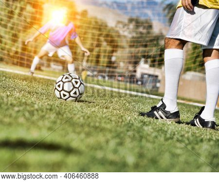 Low angle view of Goalie Defending