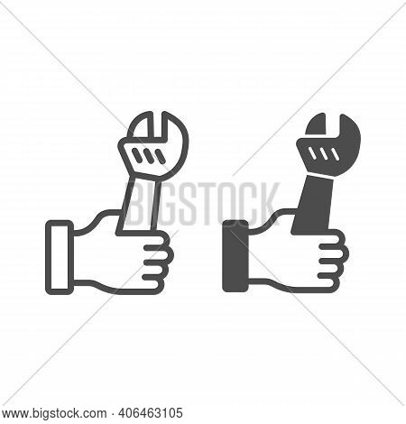 Large Wrench In Hand Line And Solid Icon, Labour Day Concept, Home Repair Sign On White Background,