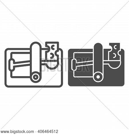 Mousetrap With Cheese Line And Solid Icon, Pest Control Concept, Mouse Trap Sign On White Background