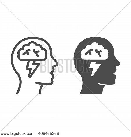 Human Head With Brain And Lightning Line And Solid Icon, Startup Concept, Brainstorm And Ideas Sign