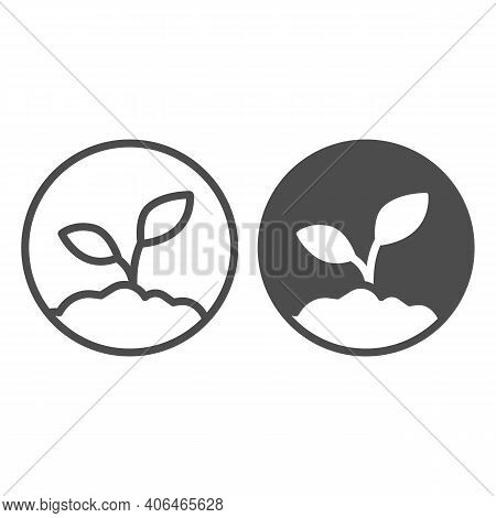 Sprout In The Ground Line And Solid Icon, Startup Concept, Ecologically Pure Product Sign On White B