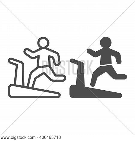 Man On Treadmill Line And Solid Icon, Diet Concept, Exercise Machine Sign On White Background, Man R