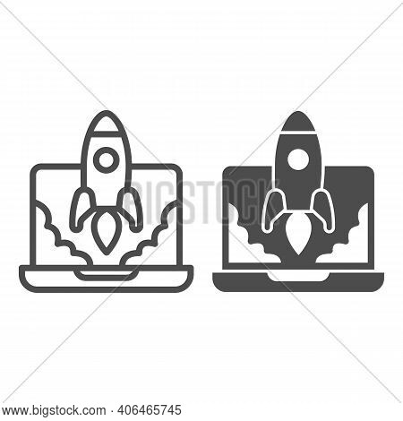 Laptop And Rocket Launch Line And Solid Icon, Startup Concept, Site Launch Sign On White Background,