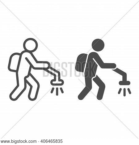 Man With Insect Spray Line And Solid Icon, Pest Control Concept, Exterminator Sign On White Backgrou