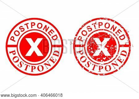 2 Style, Clean And Rust Circle Vector Red Grunge Rubber Stamp Effect, Postponed Isolated On White