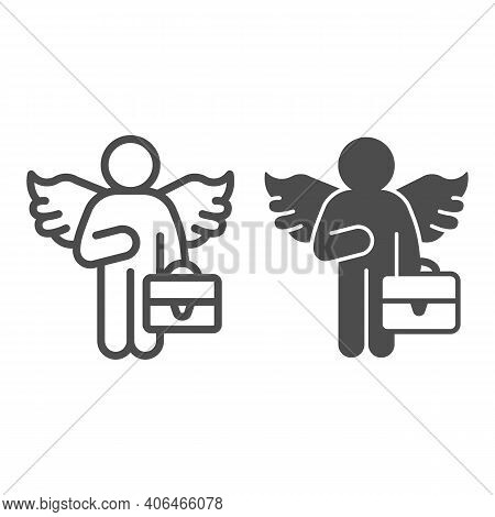 Man With Wings And Bag Line And Solid Icon, Startup Concept, Business Angel Sign On White Background