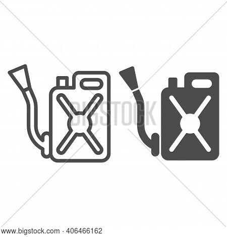 Canister With Hose Line And Solid Icon, Pest Control Concept, Funnel Fuel Sign On White Background,