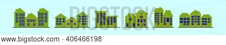 Set Of Town Homes Cartoon Icon Design Template With Various Models. Modern Vector Illustration Isola