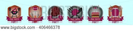 Set Of Tailgate Logo Cartoon Icon Design Template With Various Models. Modern Vector Illustration Is